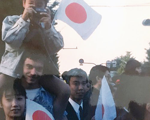 Moriteru Doshu, Tony with Waka Sensei on his shoulders